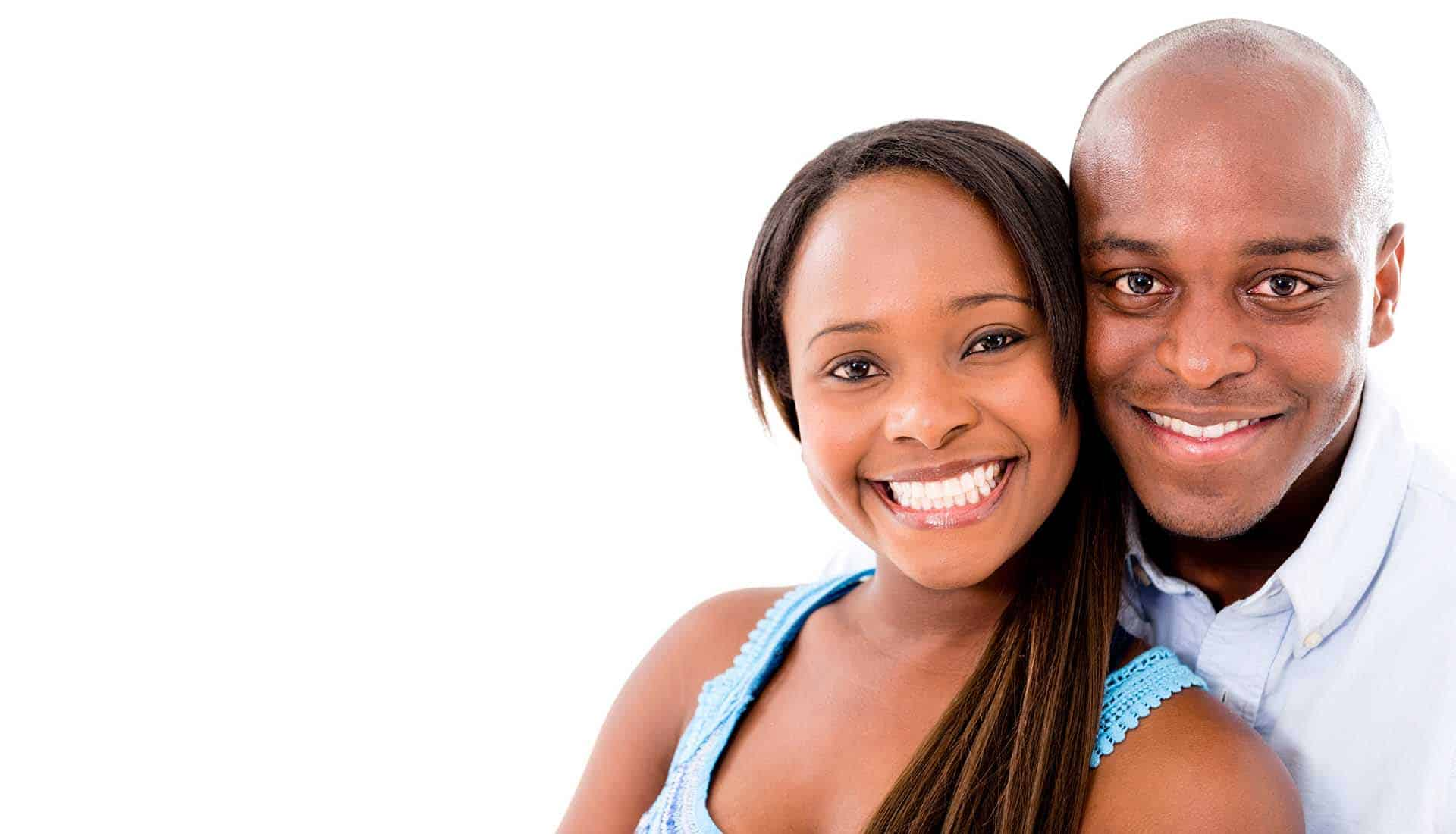 African-american couple smilling.