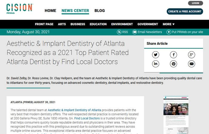 Screenshot of an article - Aesthetic & Implant Dentistry of Atlanta Recognized as a 2021 Top Patient Rated Atlanta Dentist by Find Local Doctors